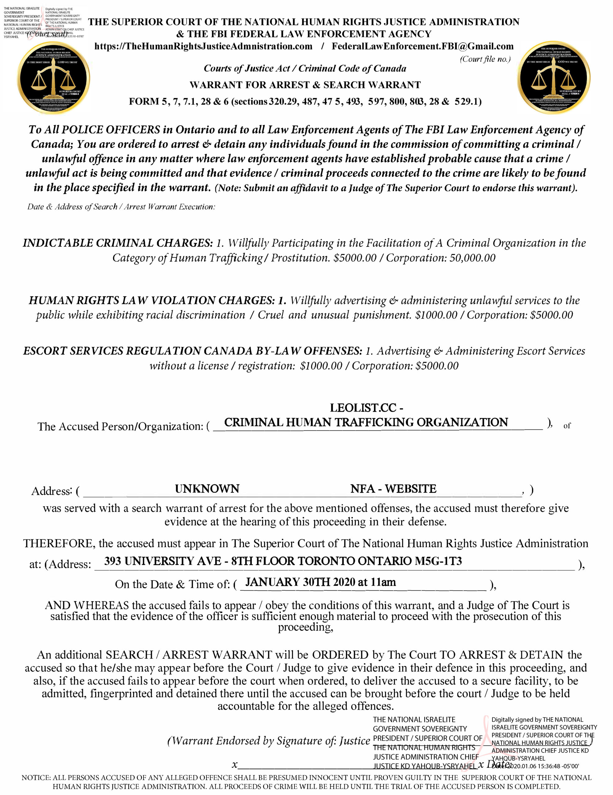 LEOLIST ARREST WARRANT - CRIMINAL HUMAN TRAFFICKING ORGANIZATION